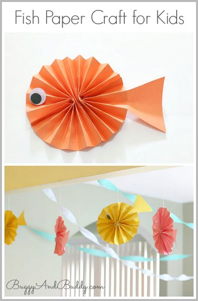 Fish Paper Craft for Kids~ Buggy and Buddy. Wonderful craft to accompany the book Who Made You. #Children's crafts #home schooling #fish crafts