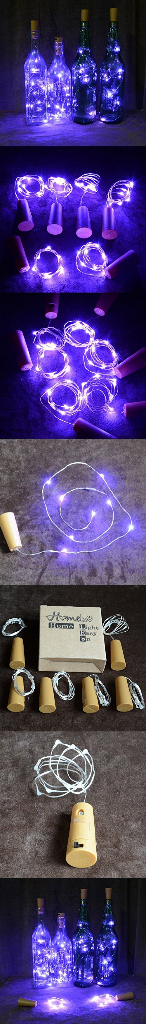 Homeleo Wine Bottle Cork Lights Copper Wire String Lights for Wedding, Festival, Party Decor (6Pack, Purple)