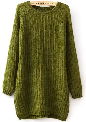 Green Long Sleeve Split Loose Knit Sweater 21.67  For me!