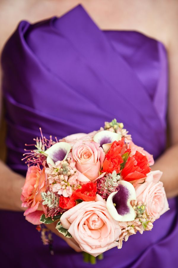 Sunset themed wedding ideas: Bridesmaid bouquet with roses and calla lilies (Under Grace Photo)