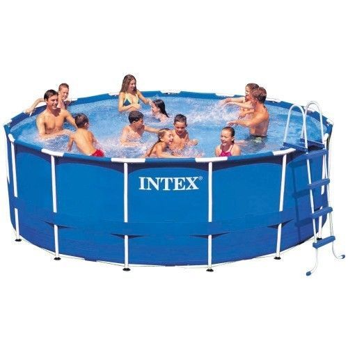 Intex-15-x-48-Metal-Frame-Swimming-Pool-For-Family-New