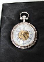 Heritage Collection Taschenuhr Silber Uhr NEU Leder versilbert Victorian Style OVP Kette w. Vintage 3