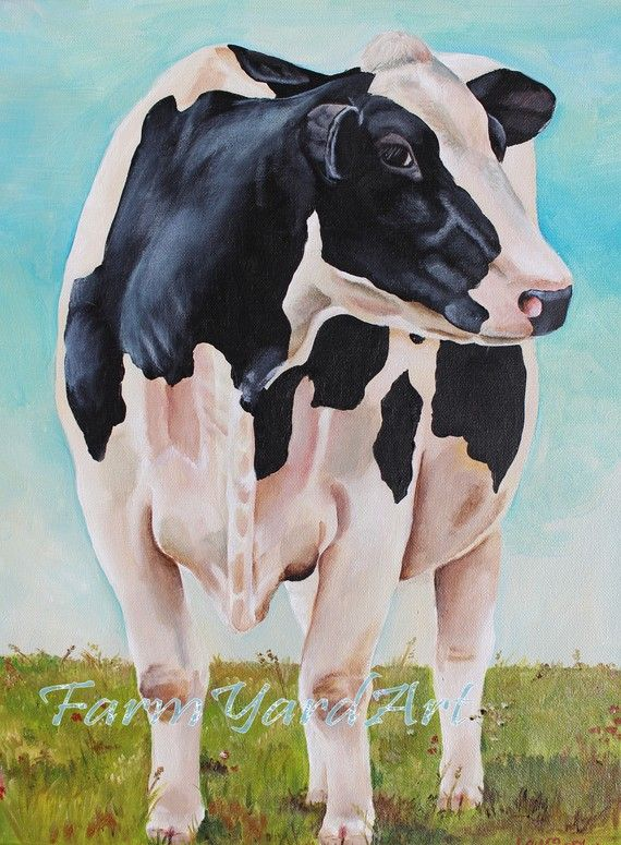 Original Fine Art Holstein cow painting by Laura by farmyardart, $181.00