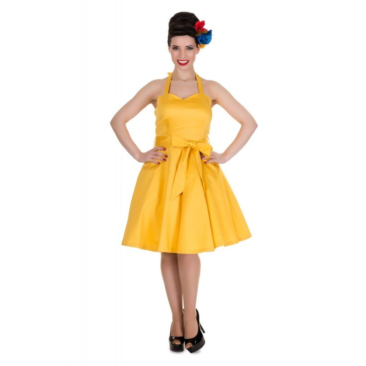 Nancy Sweetheart Neck 50's Dress in Yellow *available in a 14, but perhaps if you wanted both colours you could accessorise with grey for this dress (petticoat/headscarf) and yellow for the grey dresses, which are available from 14 up to a 24 xx