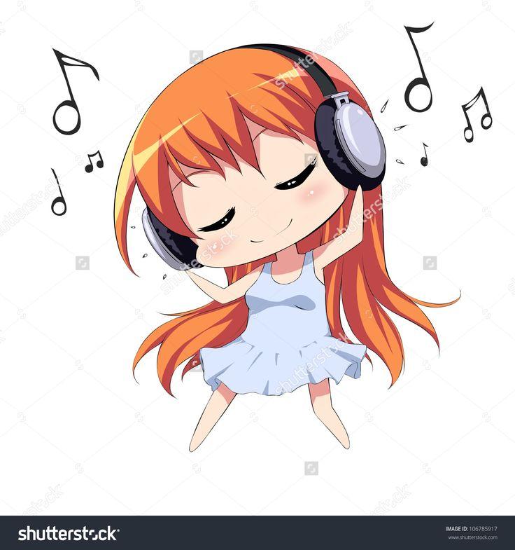Anime listening to music clip art creative logo