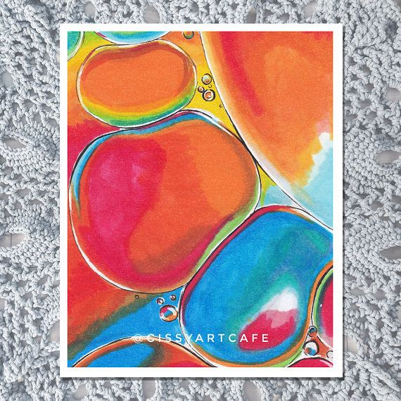 PRODUCT DETAILS  • Beautiful print of a copic marker painting of some oil bubbles. Comes in 3 easy to frame, standard sizes of 4x6 inches, 5x7 inches, 8x10 inches. 4x6 inch print also functions as a postcard!  • This piece is printed with high quality inks on matte archival quality