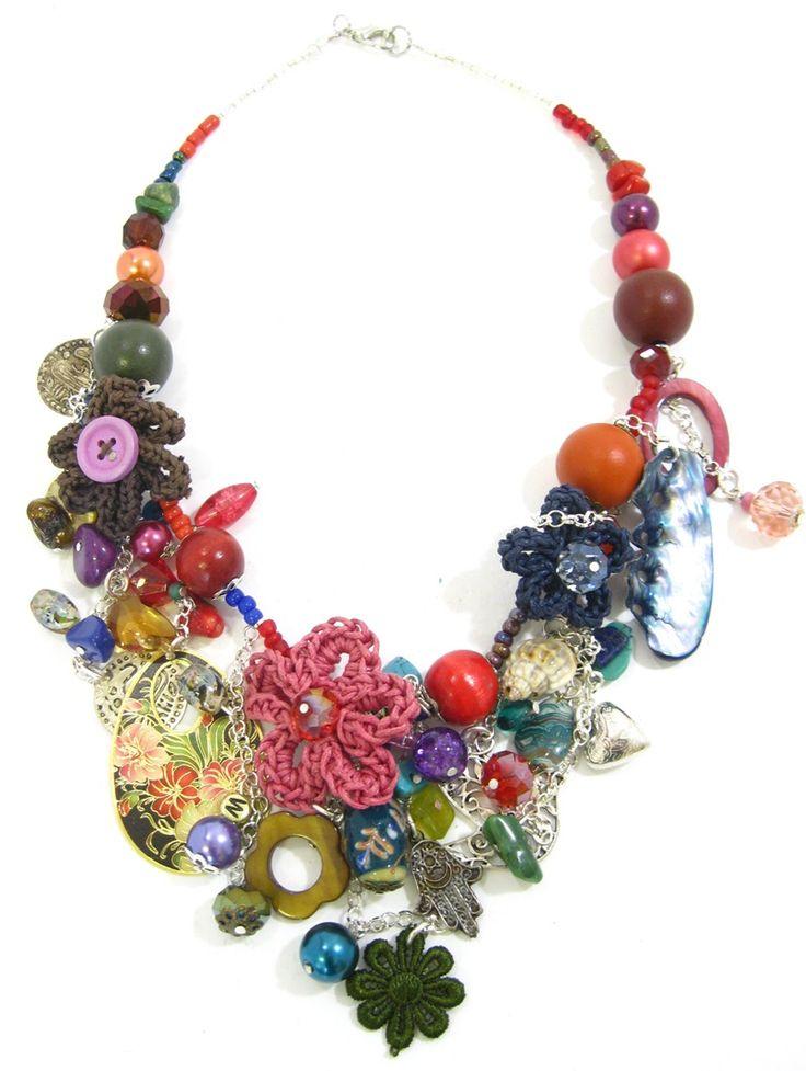 Crochet Floral charm necklace. www.marzipan.co.za