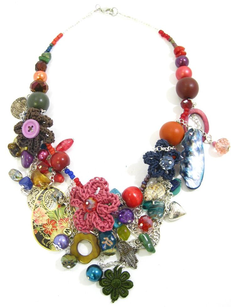 Crochet Floral charm necklace. www.marzipan.co.za