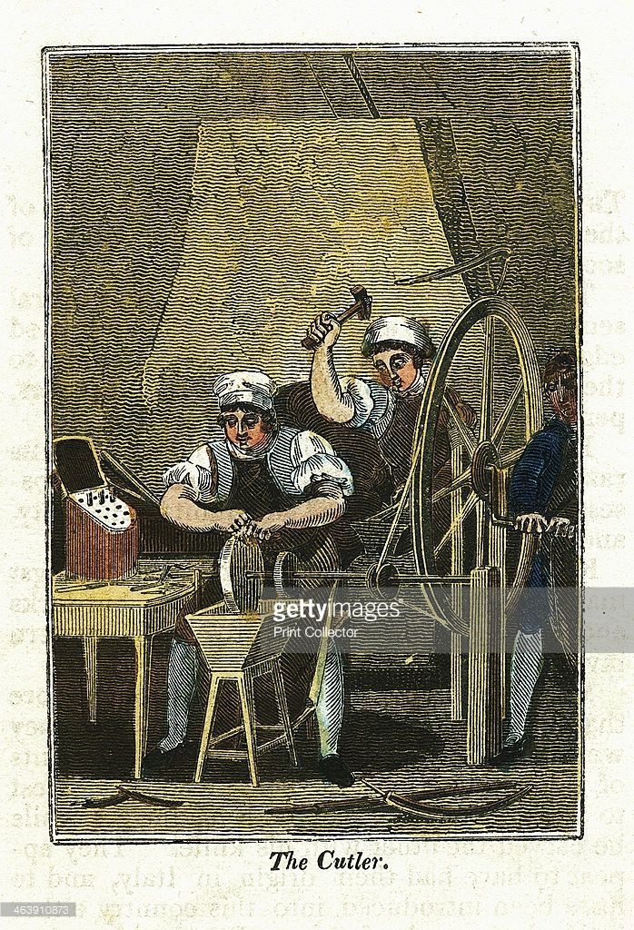 'The Cutler', 1823. Knife blades are shaped at a forge in the background and sharpened on a grindstone turned by a wheel operated by the boy on the right. Handles would be attached and finished knives would be presented in a fitted wooden box like the one on the table at left. From The Book of English Trades. (London, 1823).