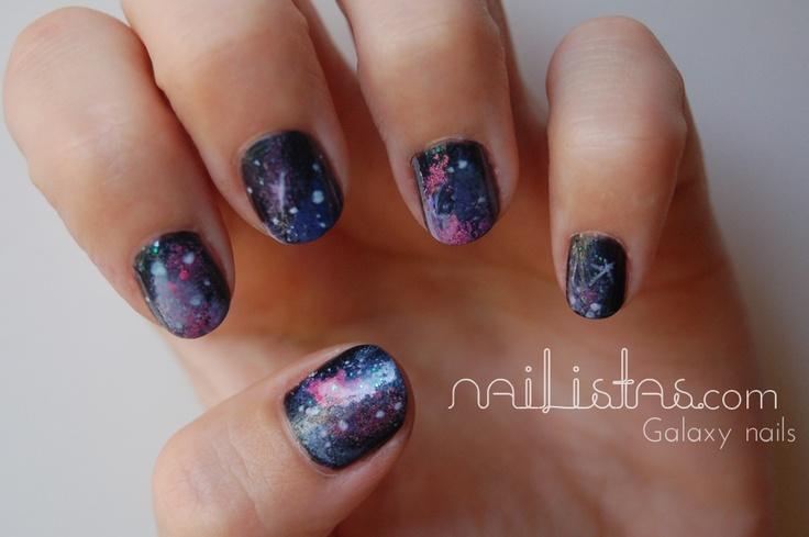 Galaxy nails // Uñas de Galaxias