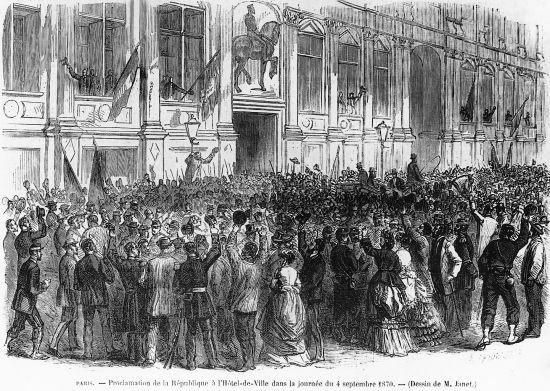 Proclamation de la République, le 4 septembre 1870, place de l'Hôtel de Ville