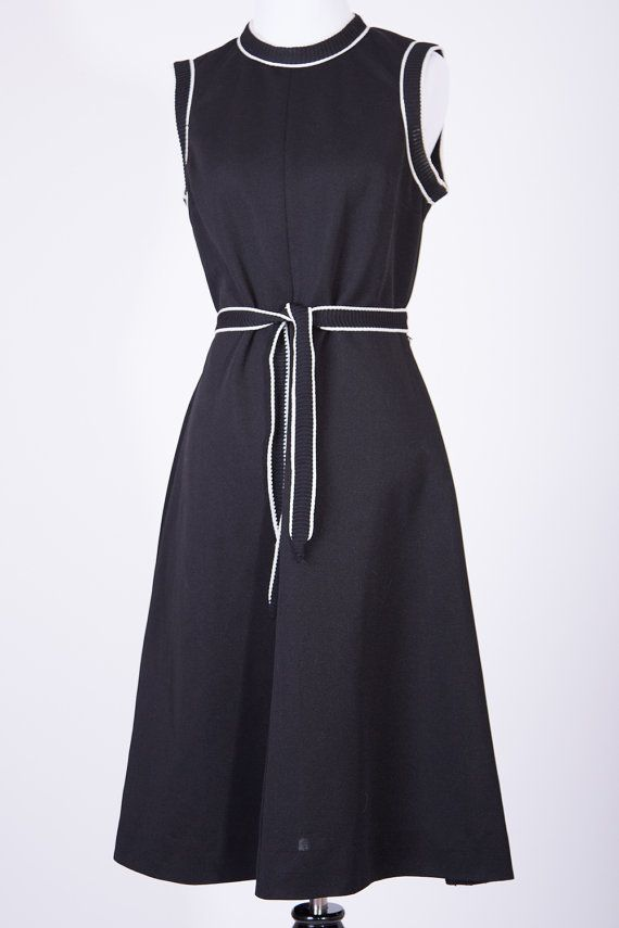 Versatile Black Sleeveless Dress with White by BirchEdenVintage