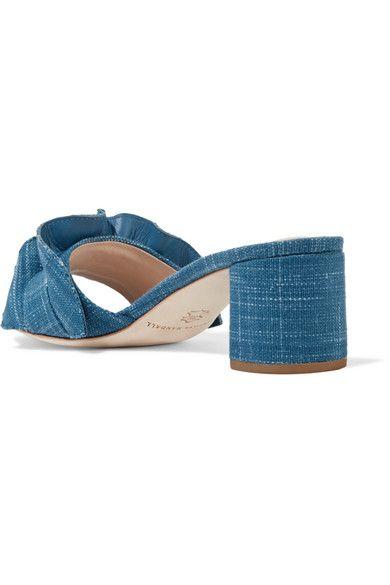 Loeffler Randall - Vera Ruffle-trimmed Denim Sandals - Mid denim