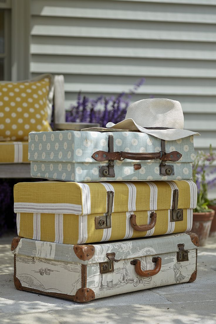 fabric covered vintage suitcases