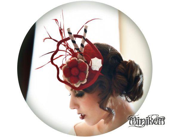 Handmade felt Strawberry tart, Pinup whimsy Millinery fascinator by Minikem, on Etsy, $96.00