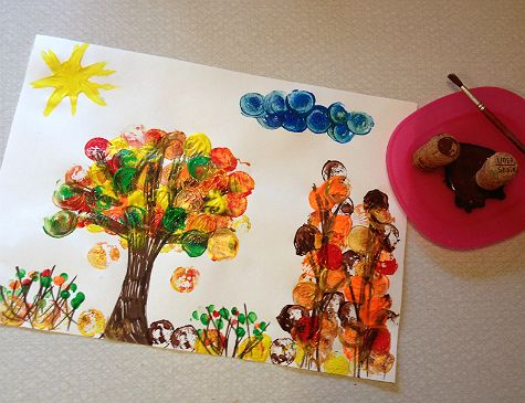 Paint autumn leaves with corks. Kids fun DIY.