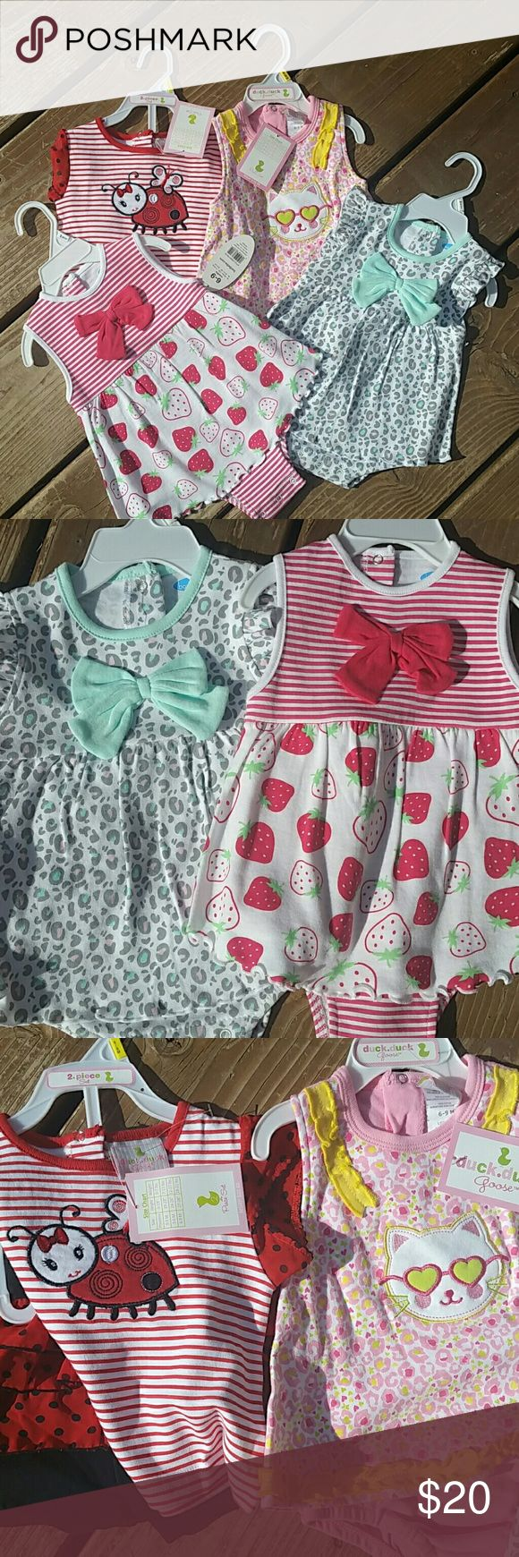 FOUR 6/9M outfits FOUR NWT ((new with tags)) 6/9M outfits. One has cute white and red striped lady bug shirt with red and black polka dot ruffled shorts. One has pink and yellow leopard print kitty cat dress onesie. One is white with gray, pink and blur leopard pattern and a pale blue bow and is also a dress onesie and the last one has strawberry pattern with stripes and is a dress onesie. Break it down, that's only 3 dollars per outfit and if you don't think that's a fair price, send me an…