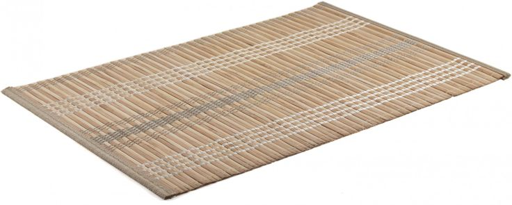 Add a little Asian style to the table with this set of bamboo placemats. The set contains four placemats, which are natural bamboo with white and gray threading and are made up of medium sized strips.