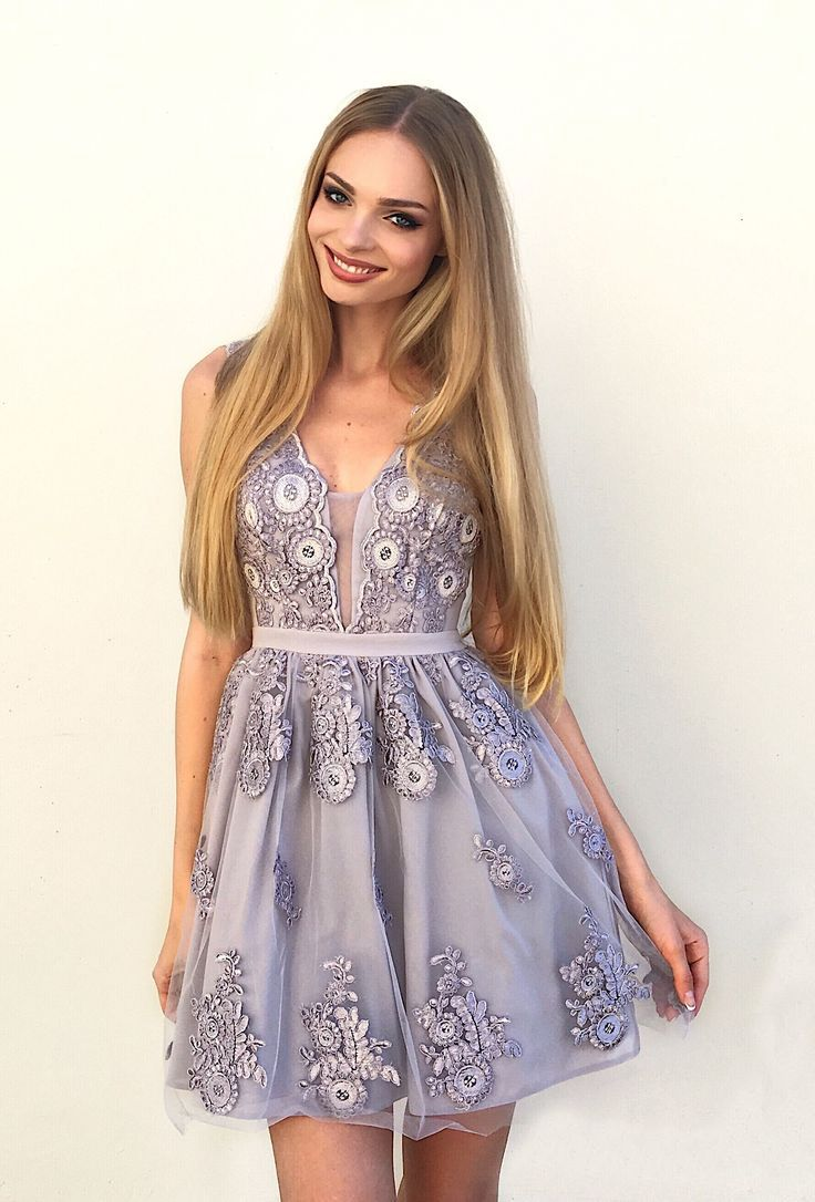 22138528f4f A-Line V-Neck Above-Knee Lavender Homecoming Dress with Appliques in ...