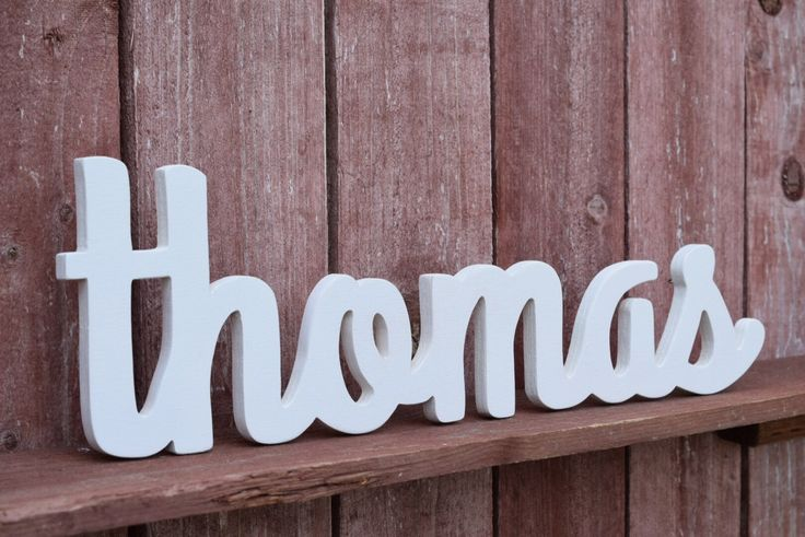 Baby Name Wood Sign - Nursery Decor - Baby name signs for baby showers - Thomas by lucysletters123 on Etsy