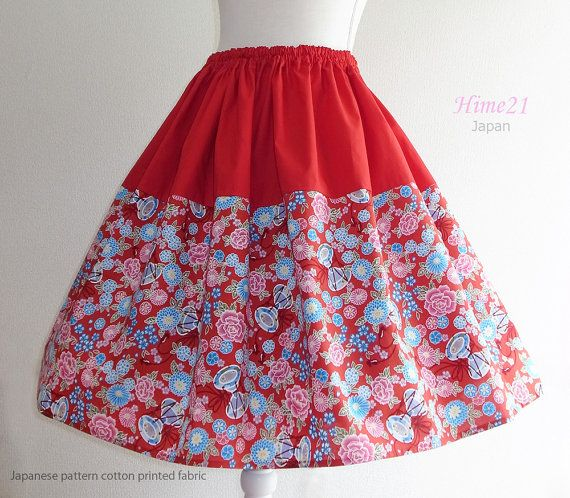 Japanese pattern cotton Skirt Red and Flower  Waist  by Hime21, ¥5500