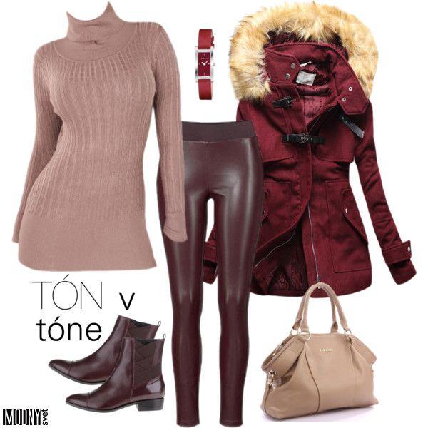 béžová-pulóver-vínový-kabát-členkové-topánky-bordová-legíny-dámske-hodinky-kabelka