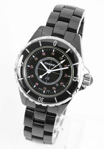シャネルJ12スポーツ J12 ルビーインデックス セラミック ブラック レディース H1634 -シャネルJ12時計コピー