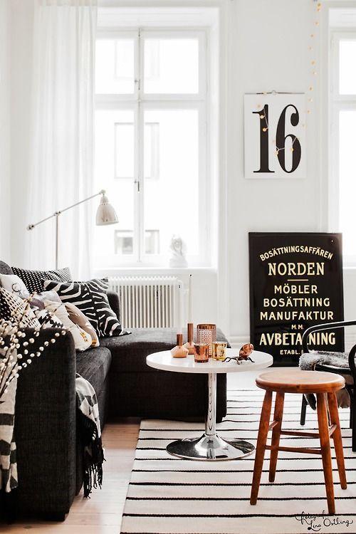 Loft living room #blackandwhite #modern #design