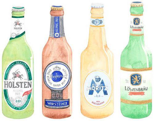 Watercolour, aquarelle, bière, beer
