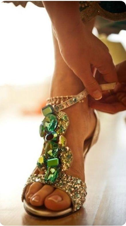 Jimmy Choo green jewel sandals
