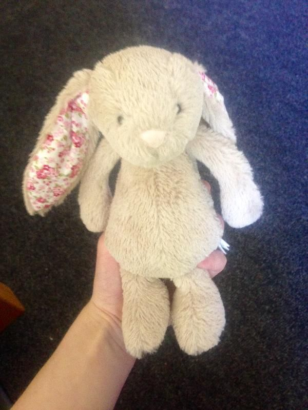 Found on 18 Jul. 2016 @ York Road, Dun Laoghaire, Co Dublin, Ireland . Small Jellycat bunny found, grey-brown (or beige) colour. Has a red and pink floral trim in ears and on feet. Found on the path near St Helen's on York Road. In very good condition, so must be quit... Visit: https://whiteboomerang.com/lostteddy/msg/aslvca (Posted by Laura on 18 Jul. 2016)