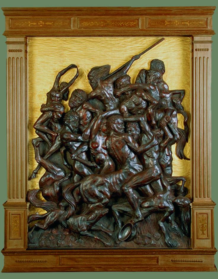 "J. M. Félix magdalena.- CENTAUROMAQUIA"" Altorrelieve tallado en madera de iroko,132 x 108 x 11 cm"