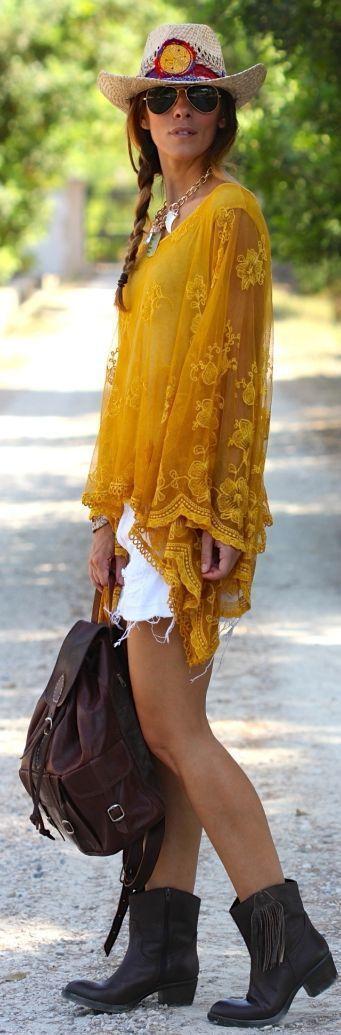 @roressclothes closet ideas #women fashion white shorts, yellow shawl summer boho indie gipsy