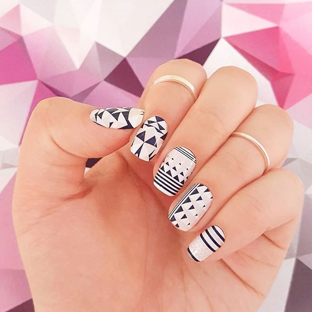 """""""Point Taken"""" nails mix chic geometric lines and triangles with wearable neutrals! Shop this bold nail art look at incoco.com ❤ #incoco #nailart #geometricnails #nailartpassion #diynailart"""