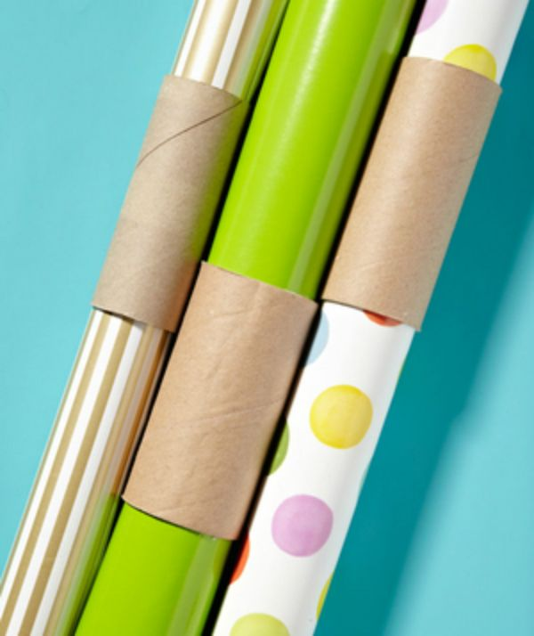 How to Store Wrapping Paper and Keep it from Unraveling Using a Toilet Paper Roll