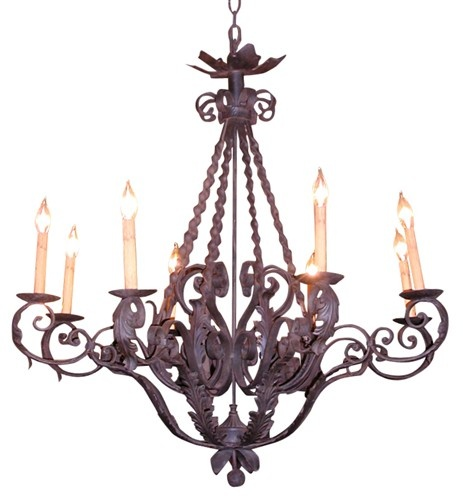 JESSICA REUBEN'S PICK - Hand forged iron chandelier with acanthus leaves - $2925.Forge Iron, Small Chandeliers, Iron Chandeliers, Iron Beautiful, Wrought Iron, Rust Iron, Lights Iron