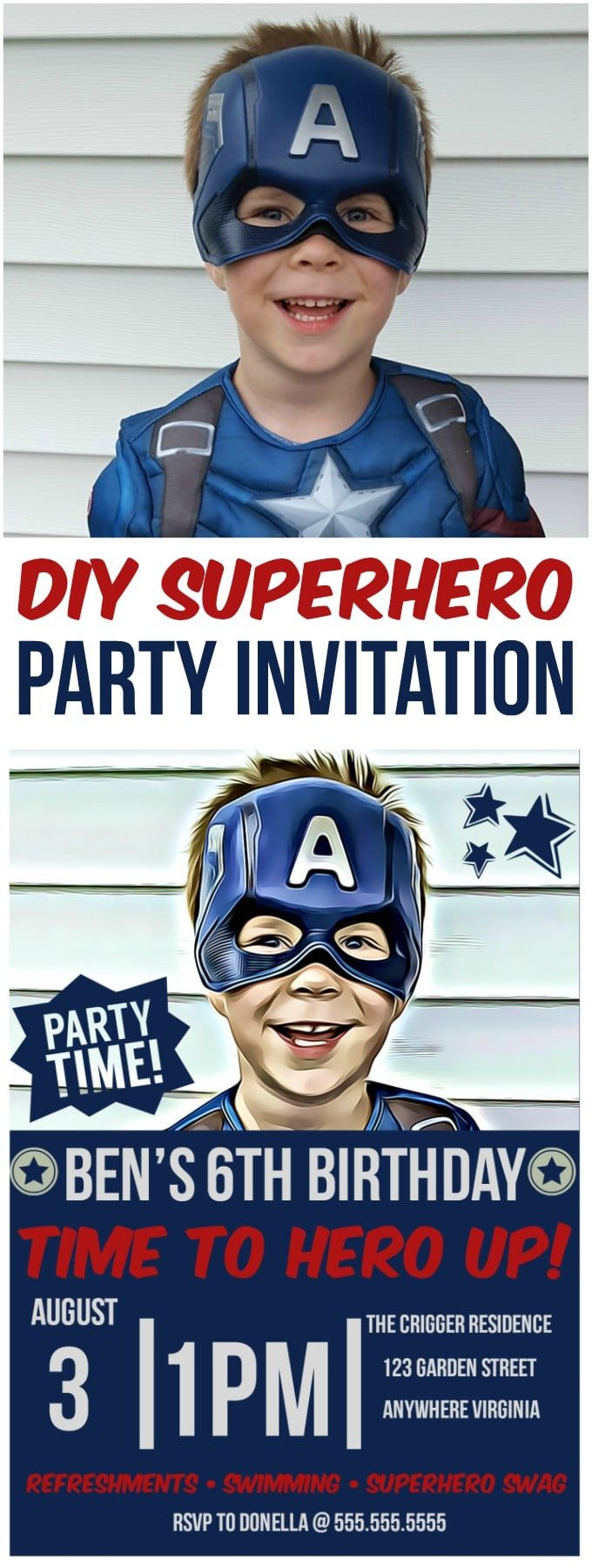 Make your own diy superhero party invitations using BeFunky's cartoonizer, digital art effects and invitation templates! #sponsored
