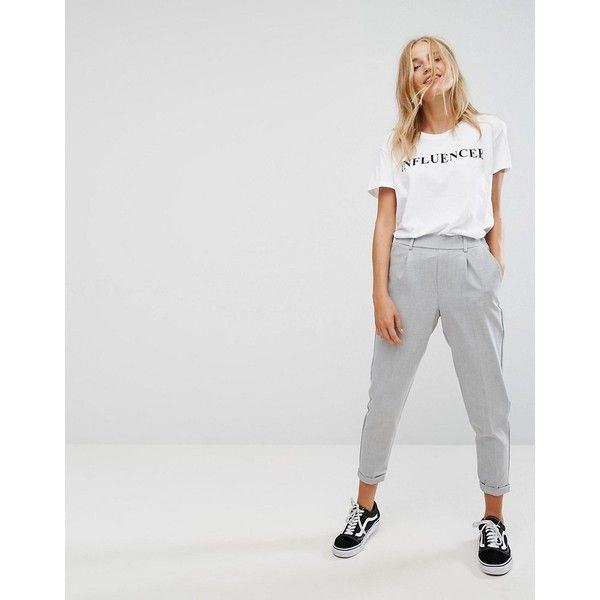 Bershka Tailored Pant ($35) ❤ liked on Polyvore featuring pants, grey, tailored pants, high-waisted trousers, high waisted loose pants, woven pants and tall pants