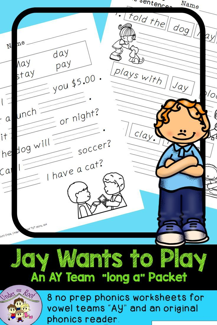 small resolution of 8 no prep \AY\ vowel team worksheets and an original phonics reader.  Perfect for your new reader. #NoPrepPhon…   Phonics