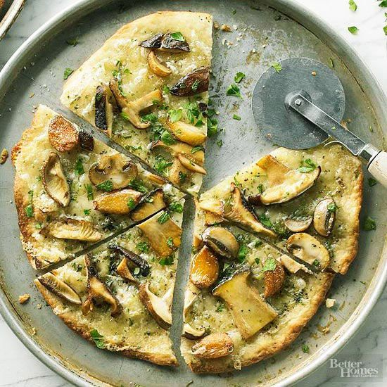 Mushroom-garlic pizza is simple to make and has great flavor. Make this tasty vegetarian pizza for any occasion!