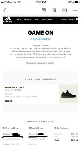 ee703e85 Details about Adidas Yeezy 350 V2 Core Black Red Bred Boost Low SPLY ...