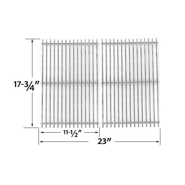 2 PACK STAINLESS STEEL COOKING GRID FOR BBQ GRILLWARE GSC2418 AND PERFECT FALME 13133 GAS GRILL MODELS  Fits Arkla : 4420U6, 4451K, 4451KN, 644NG, U4415, U4421, U4429, U5658, U5662, U5672, U5679, 4460U6  Fits BBQ Grillware : GSC2418, GSC2418N, 164826, 102056 Fits BBQTEK: GSC2418J, GSC2418JN, GSC2418JBN  Fits Blooma: DARWIN 3 BURNER, NEVADA 3 BURNER, OL6009WT-SSB Fits Charmglow : 0903, 0905 0905-3, 0906, 0925, 0945, 0968, 0969, 0988, 0989, 0990, 10905, 10905-3, 10912, 10922, 10935, 10942…
