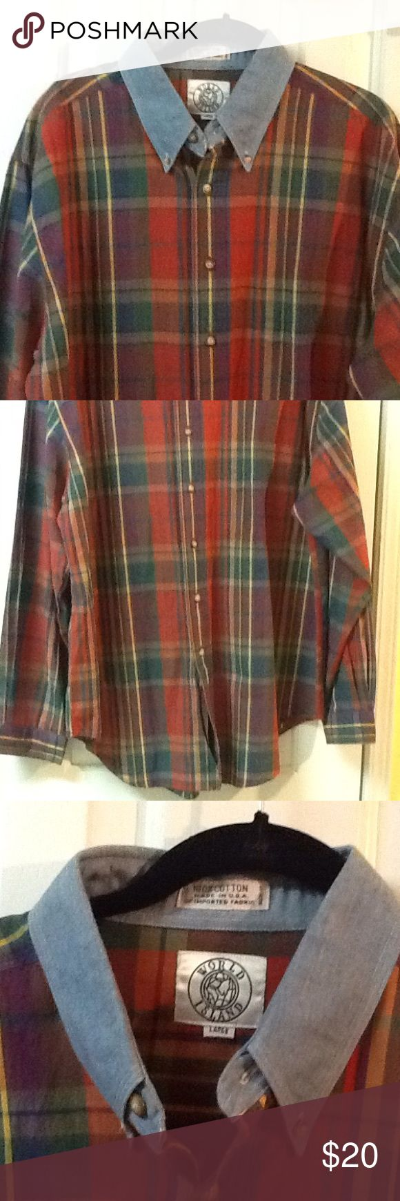 Men's Plaid Size L Long Sleeve Shirt Men's size large cotton preppy plaid button down shirt. By World Island. Made in USA. Contrasting collar. In great condition. Green, red, yellow and orange. World Island Shirts Casual Button Down Shirts
