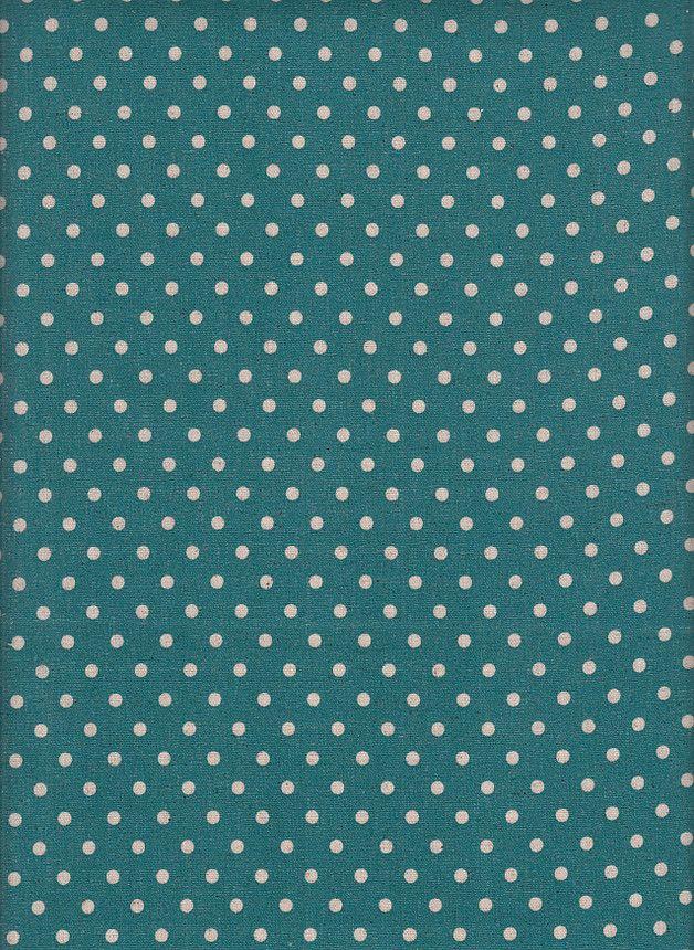 tissu japonais pois / turquoise ~ salle de bain