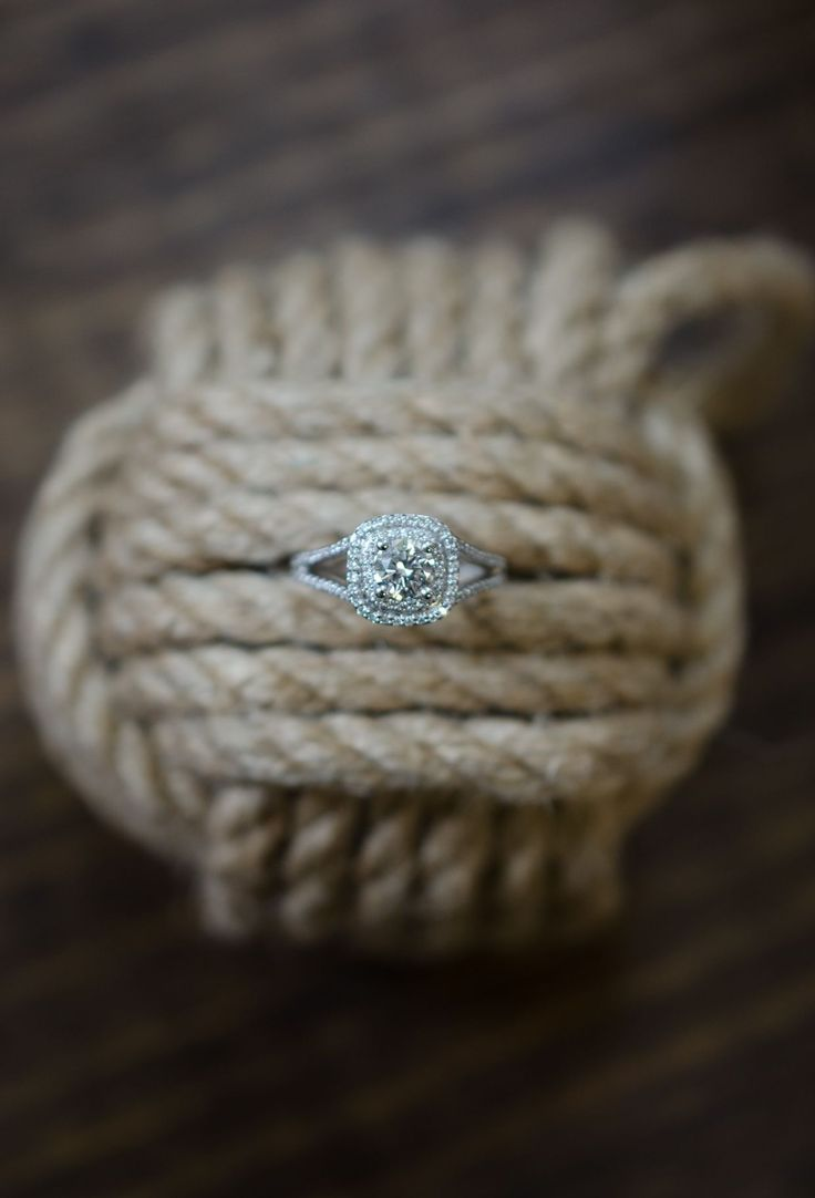 Double halo engagement ring at Colonial Jewelers