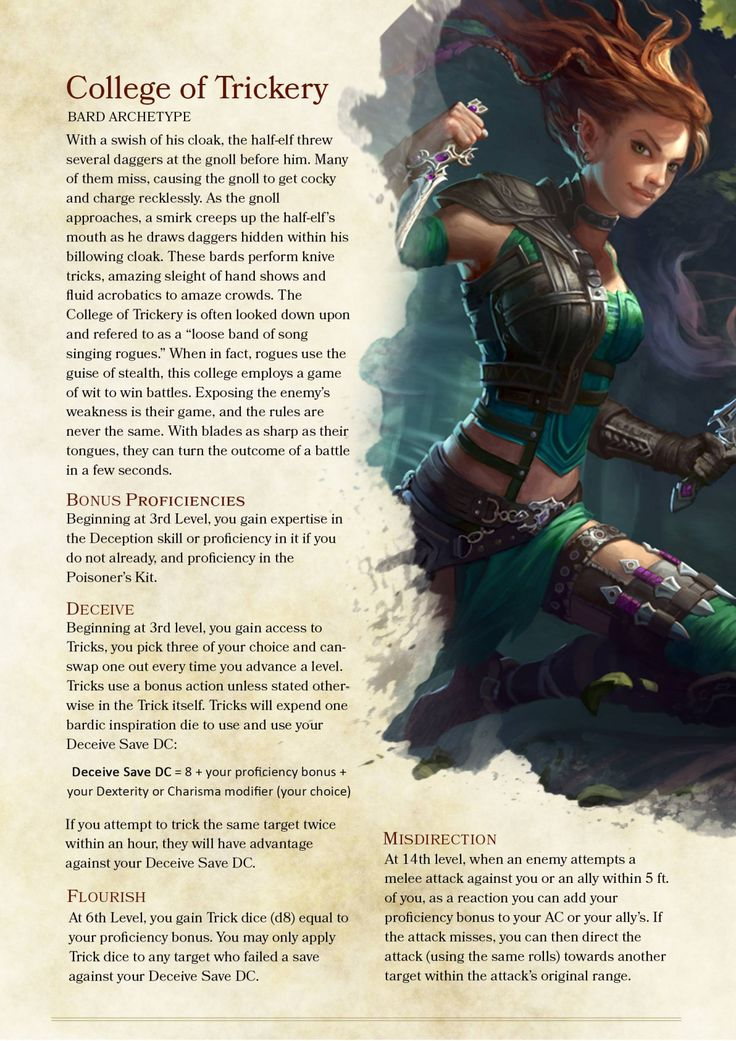 DnD 5e Homebrew — Bard College of Trickery by ill_bell