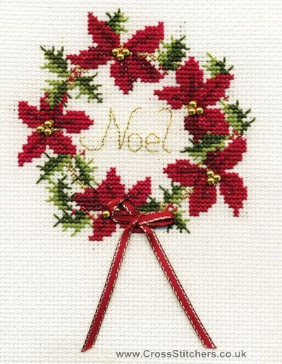 Christmas Wreath Greetings Card Cross Stitch Kit from Derwentwater Designs