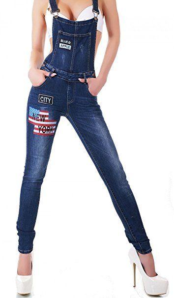 1ac7eb2282299a Sexy Latzhose mit Flaggen-Print in blue washed Größe 34 - Jeanshose frauen  jeanshosen damen