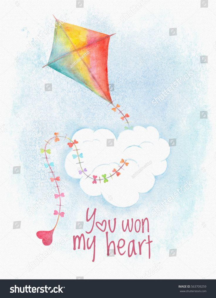 Watercolor Valentine's Day greeting card with kite in rainbow colors and little heart on blue sky with cloud background, banner, card, cartoon, celebration, character, cloud, color, cute, day, drawing, fly, gift, greeting, hand, happy, heart, holiday, illustration, kite, little, love, lovely, postcard, rainbow, romance, romantic, sky, symbol, valentine, watercolor, white