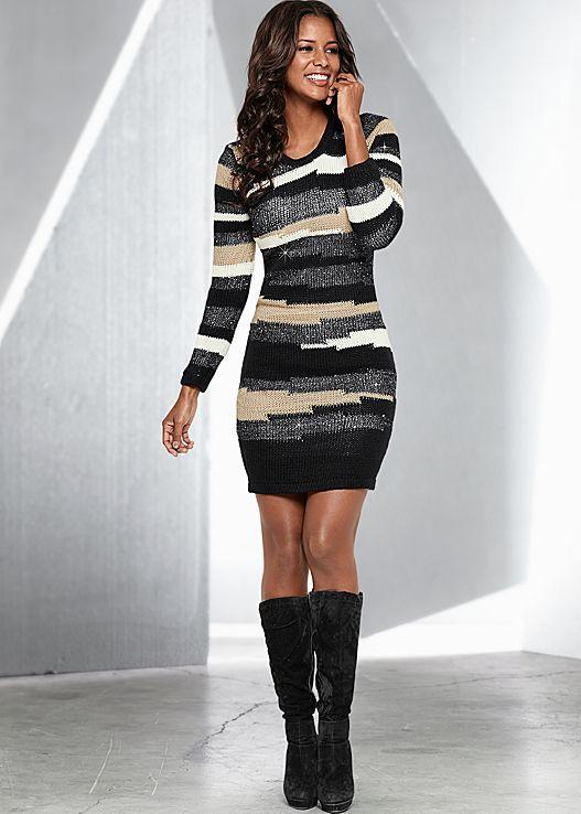 Stripe a pose in the Venus multicolor sweater dress and Venus tie back boot.